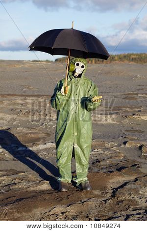 Person With Umbrella Waits Radioactive Rain