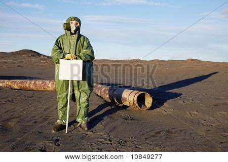 Scientist With Warning Tablet In Infection Zone