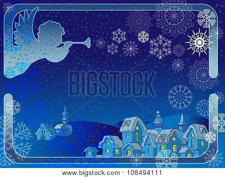 Vector frame with an angel and  snowflakes.