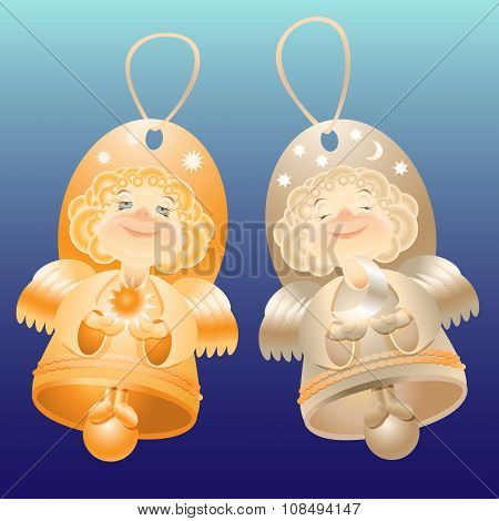 Vector illustration whith angel bell