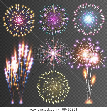 Festive Firework. Abstract Vector Isolated Pictograms. Dazzling Light up the sky. Icons on a black Background