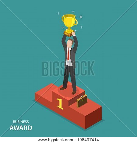 Business award isometric flat vector concept.