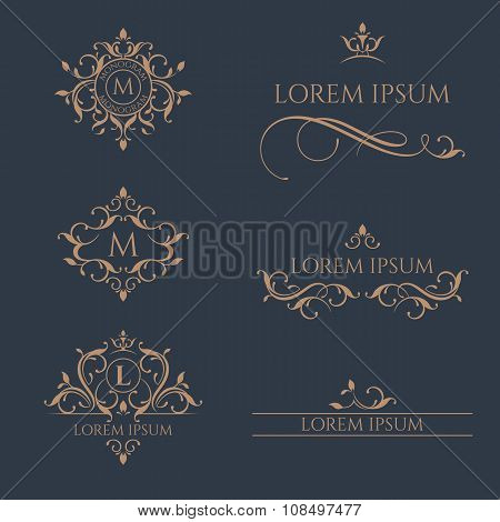 Set Of Monograms And Borders. Graphic design pages business sign, boutiques, cafes, hotels.