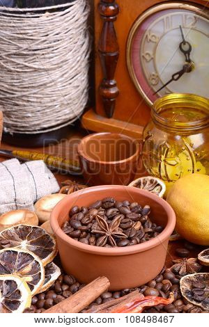 Coffee Beans, Candle, Old Bottle, Vintage Clock, Lemon, Cinnamon, Anise And Aroma Spice