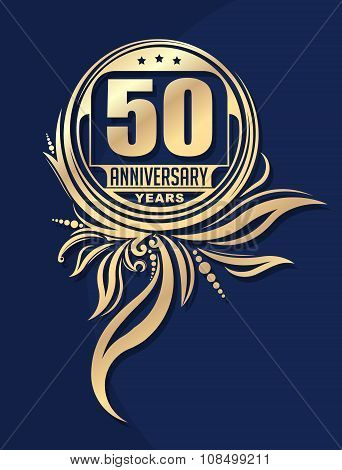 Vintage Anniversary 50 Years Unusual Round Floral Emblem. Retro Styled Vector Background In Gold Ton