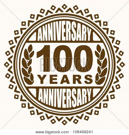 Vintage Anniversary 100 Years Round Emblem. Retro Styled Vector Background In Pleasant Tones