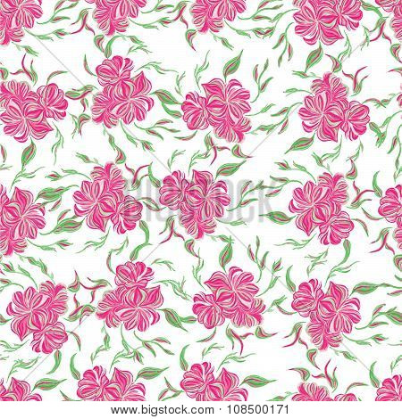 Abstract elegance seamless pattern with floral pink background.