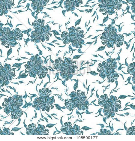 Seamless pattern with floral background. Petrykivka art.