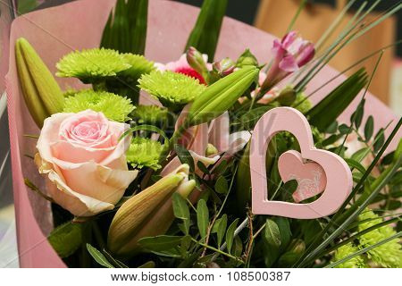 Flower Bouquet With Romantic Heart
