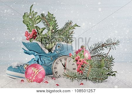 New Year clock with blue shoe and fir branches.  Digital illustration