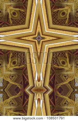 kaleidoscope cross:  gold ceiling detail