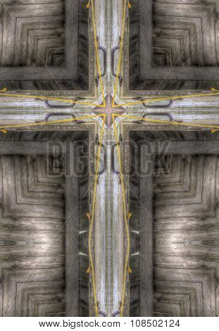 kaleidoscope cross: weathered wood