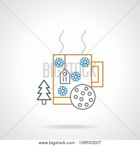 Christmas drink flat color line vector icon