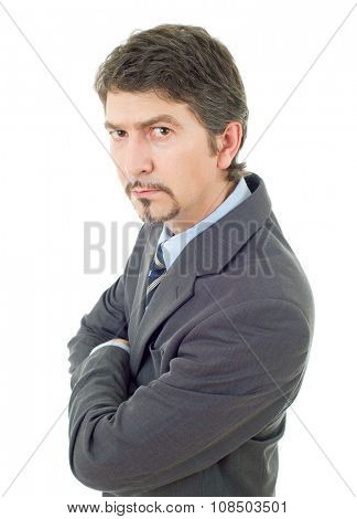 mad business man portrait isolated on white