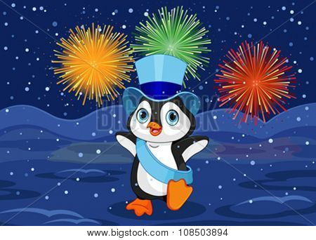 Illustration of New Year baby penguin on abstract fireworks design