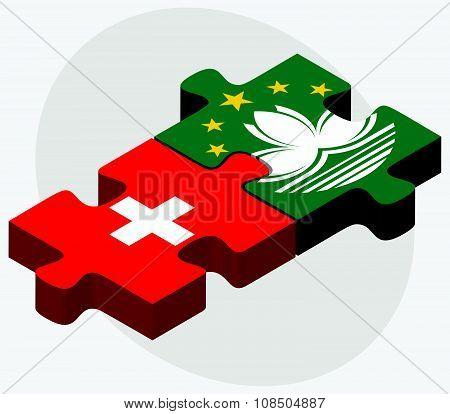 Switzerland And Macau Flags