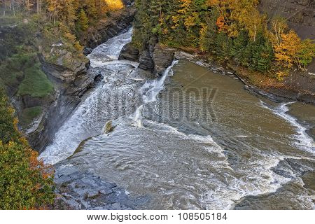 Aerial View Of The Lower Falls At Letchworth State Pa