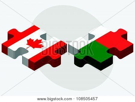 Canada And Madagascar Flags