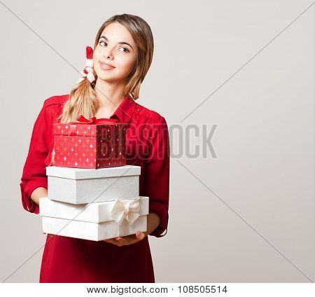Christmas Beauty With Gift Boxes.