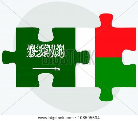 Saudi Arabia And Madagascar Flags