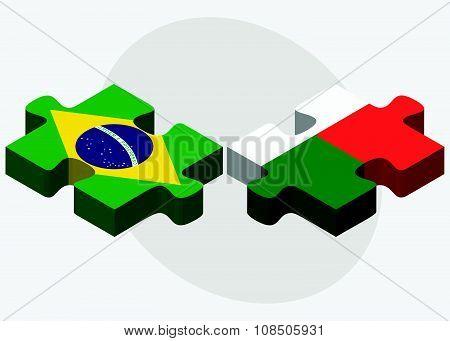 Brazil And Madagascar Flags