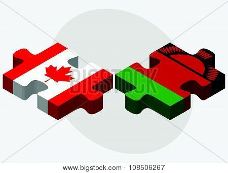 Canada And Malawi Flags