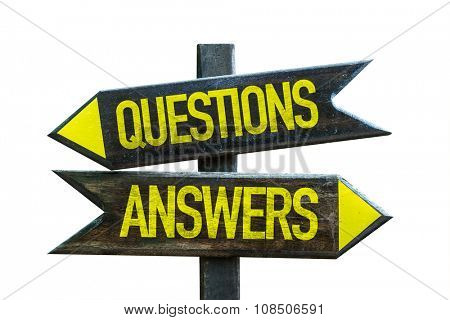 Questions Answers signpost isolated on white background