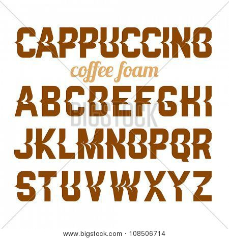 Cappuccino coffee foam art alphabet. Vector.