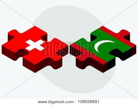 Switzerland And Maldives Flags