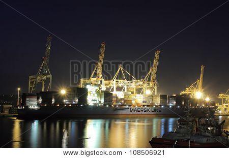 Industrial Port Of Koper In Slovenia At Night