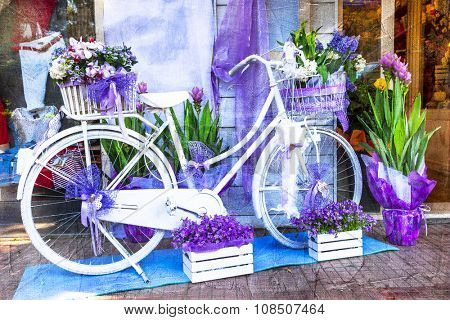 charming street decoration - floral bike, artistic picture