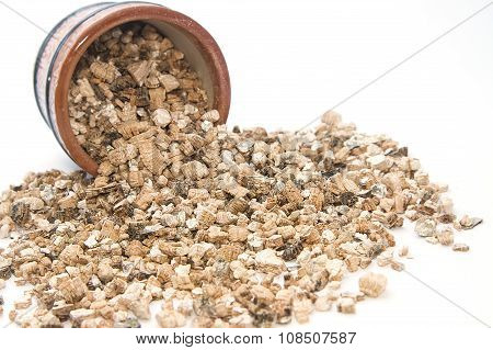 Exfoliated Perlite And Vermiculite  On White Background