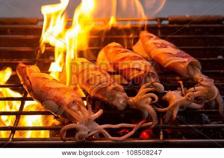 Buttered Fresh Squid On Flaming Grill
