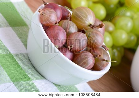 Gooseberry And Grapes Health Food Concept