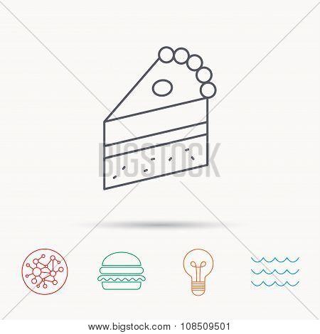 Piece of cake icon. Sweet dessert sign.