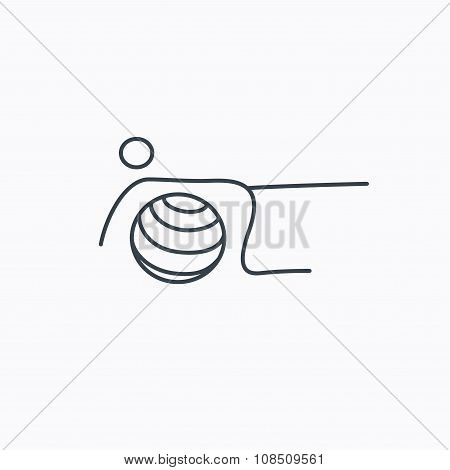 Pilates fitness sign. Gymnastic ball icon.