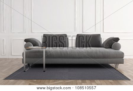 Generic upholstered grey couch in a white panelled room on a small carpet over a wooden parquet floor, Architectural background. 3d rendering