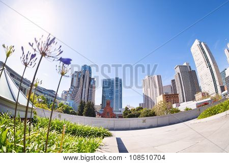 View from below of Yerba Buena Gardens park, US