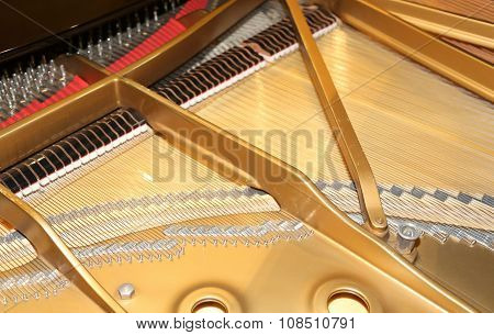 Piano With Little Hammer And Strings