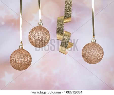 Gold Christmas Balls And Ribbon