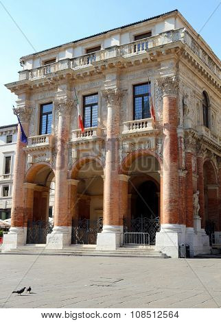 Palace Called Loggia Del Capitaniato In Vicenza With Flags