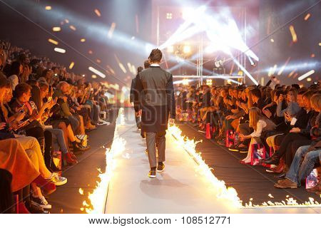 ZAGREB, CROATIA - OCTOBER 31, 2015: Fashion models wearing clothes designed by IK Studio on the 'Fashion.hr' fashion show