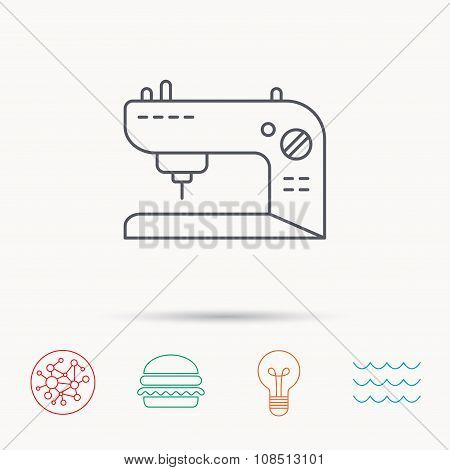 Sewing machine icon. Embroidery sign.