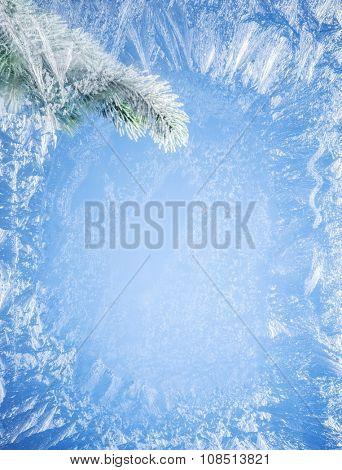Frosty patterns on the edge of a frozen window. Branch fir outside.