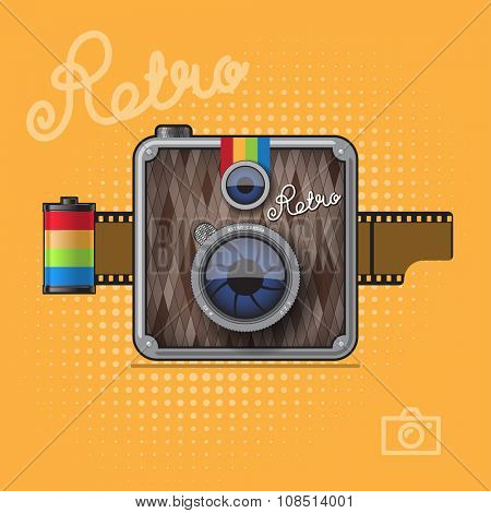 Hipster vintage style photo camera with color film reel. Vector retro Illustration
