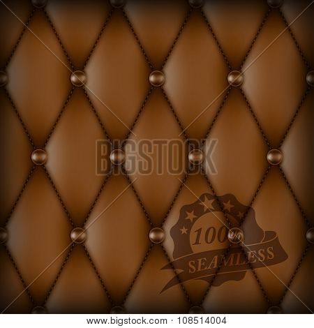 Brown buttoned luxury leather seamless pattern. Retro vintage vector background
