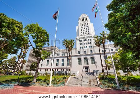 Town hall view with flags in LA downtown, the USA