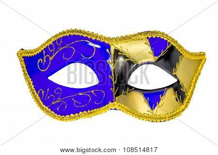 Venetian Carnival Mask Blue Yellow Black Patterned Asymmetrical Frontal Picture