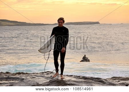 Sunrise Surfer At Cape Solander Australia