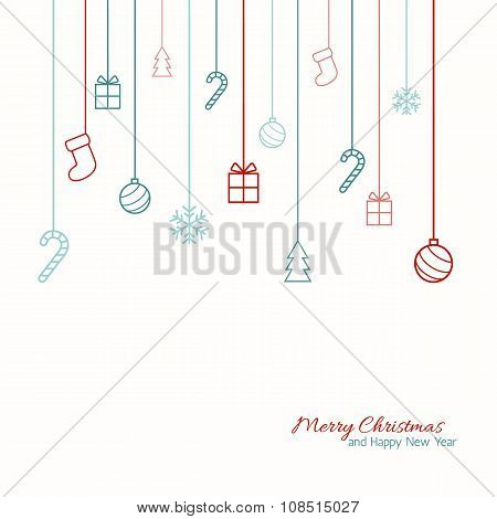 Flat Christmas greeting card.